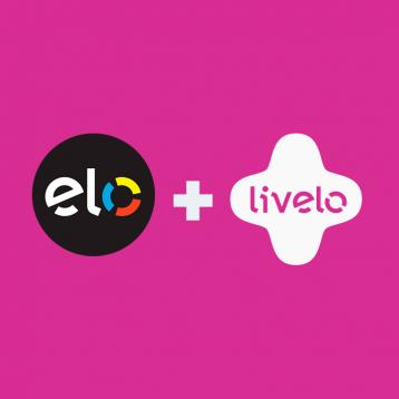 Ilustração com o logo da Elo e da Livelo em fundo rosa