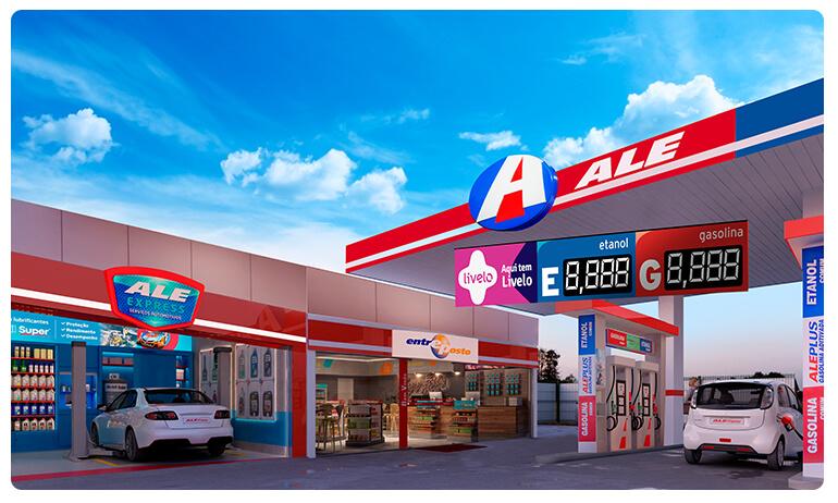 Posto de serviço da ALE Combustíveis, com troca de óleo ALE Express e conveniência Entreposto.