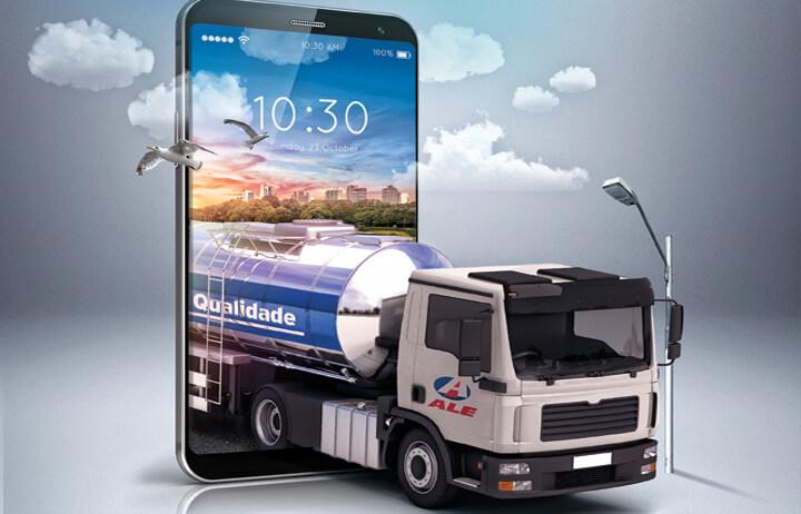 Caminhão da ALE Combustíveis sai de dentro da tela do celular, simbolizando o abastecimento e controle de frota por meio de um smartphone